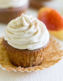 Apple cider cupcakes with Cinnamon Cream Cheese Frosting are a light and fluffy dessert just right for fall! The cupcake is made with apple cider!