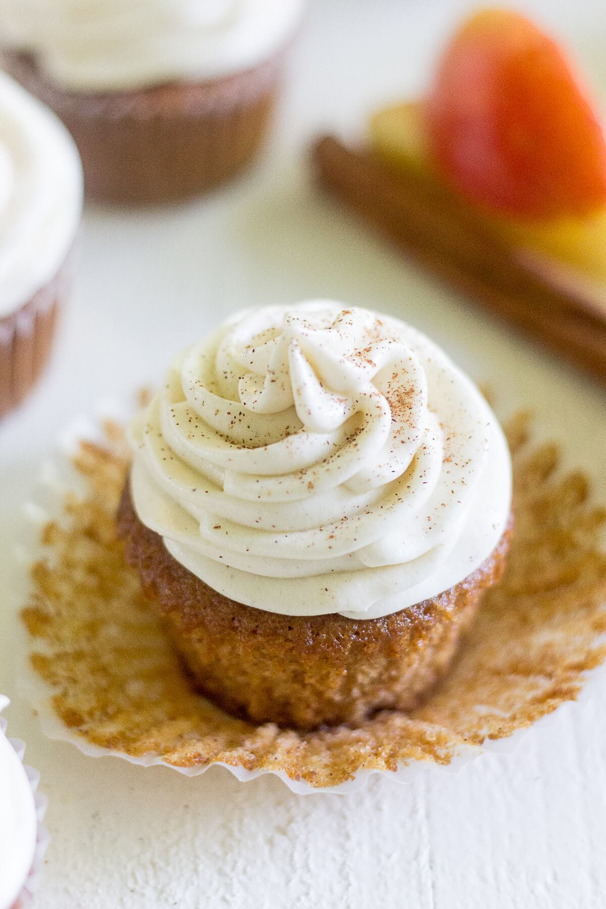 Apple cider cupcakes are a light and fluffy dessert just right for fall! The cupcake is made with apple cider and cinnamon and topped with a smooth cream cheese frosting.