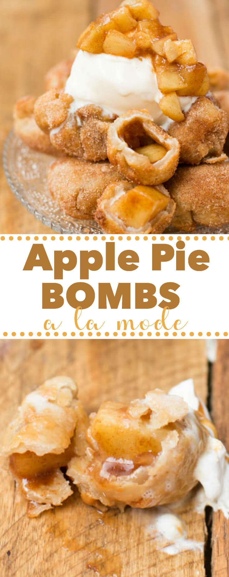 It's not fall until you've made apple pie bombs a la mode with creamy vanilla ice cream and glazed apples all over the tops. I love fall dessert recipes!It's not fall until you've made apple pie bombs a la mode with creamy vanilla ice cream and glazed apples all over the tops. I love fall dessert recipes!