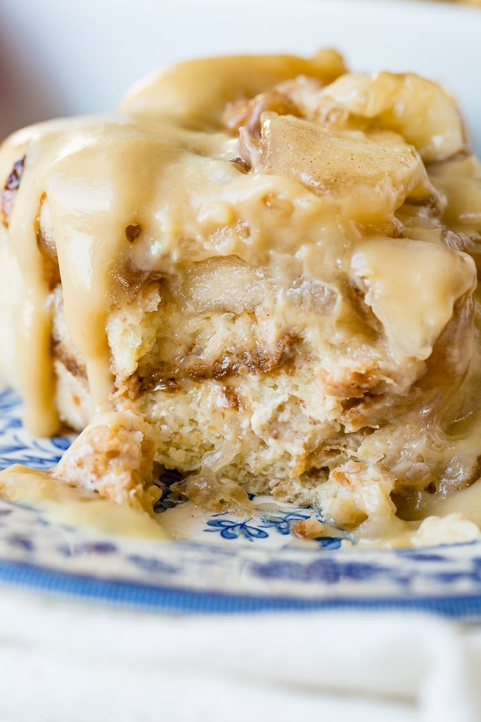 Apple Pie Bread Pudding with Vanilla Sauce