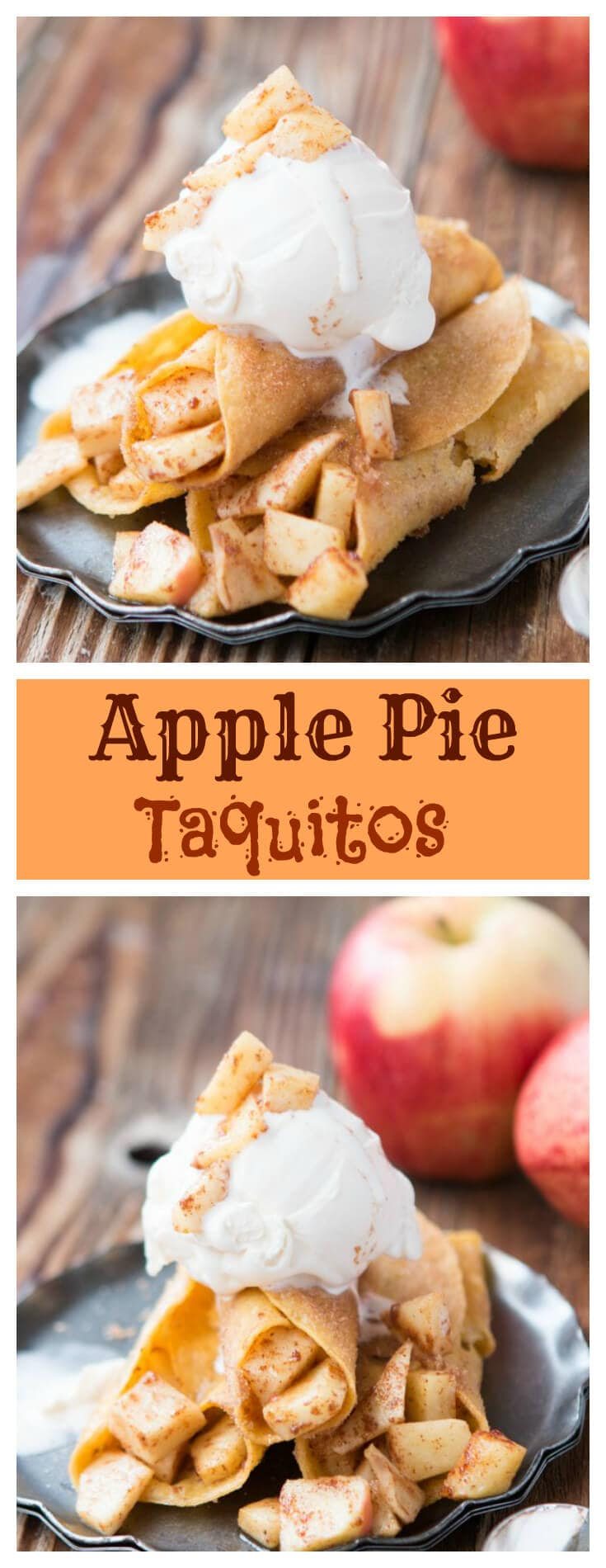 Easy apple pie taquitos. A mashup of your favorite Mexican and all American dishes plus they are so little and easy to eat! ohsweetbasil.com