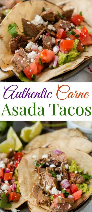 photo collage - Marinated flank steak authentic carne asada tacos on serving plate.