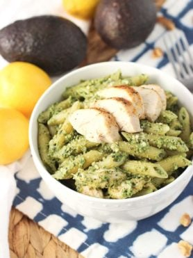 This avocado pesto chicken pasta is a quick weeknight meal with a lighter and creamy sauce. A great way to use leftover chicken!