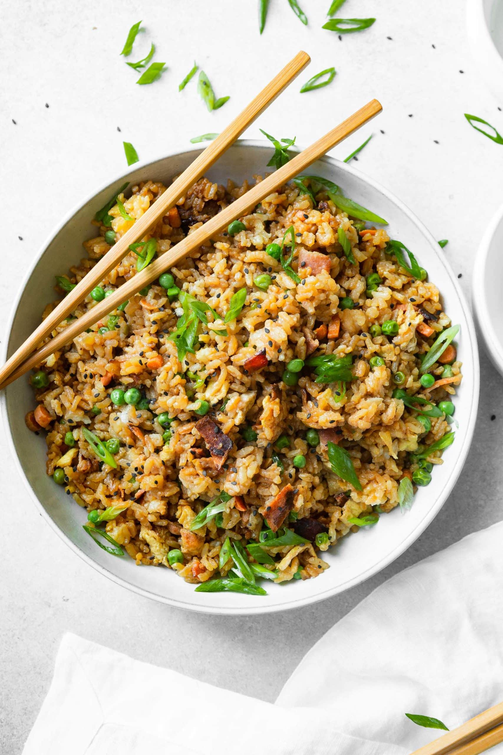 looking for an Asian inspired side dish? Bacon fried rice!