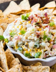 This bacon ranch corn dip is out of this world and so addicting! Just wait until you bring it to the next BBQ or party and everyone's begging for the recipe! ohsweetbasil.com