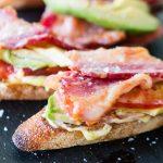 Bacon Tomato and Avocado Crostini