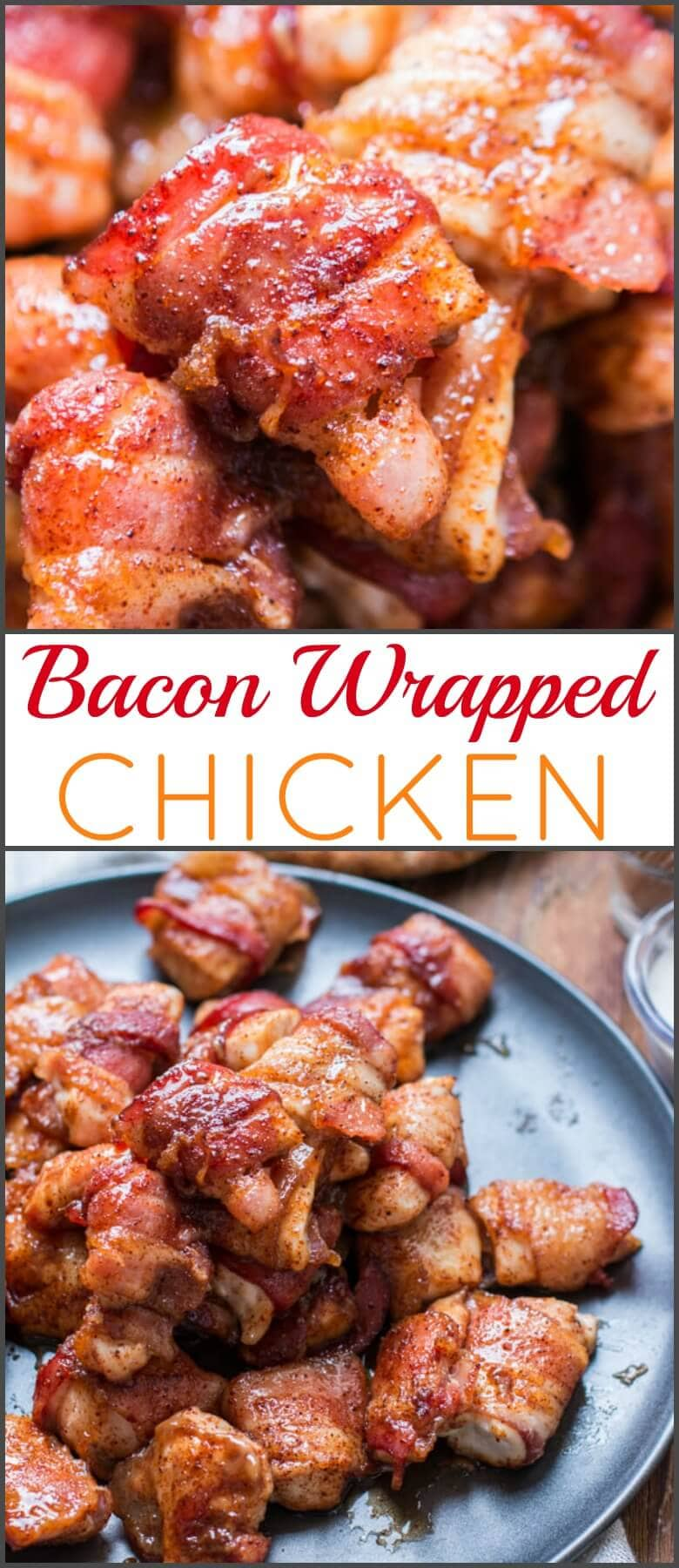 Bacon wrapped chicken is always a hit when served at the family dinner table or served as appetizers at your next get together. Savory, juicy and delicious! ohsweetbasil.com