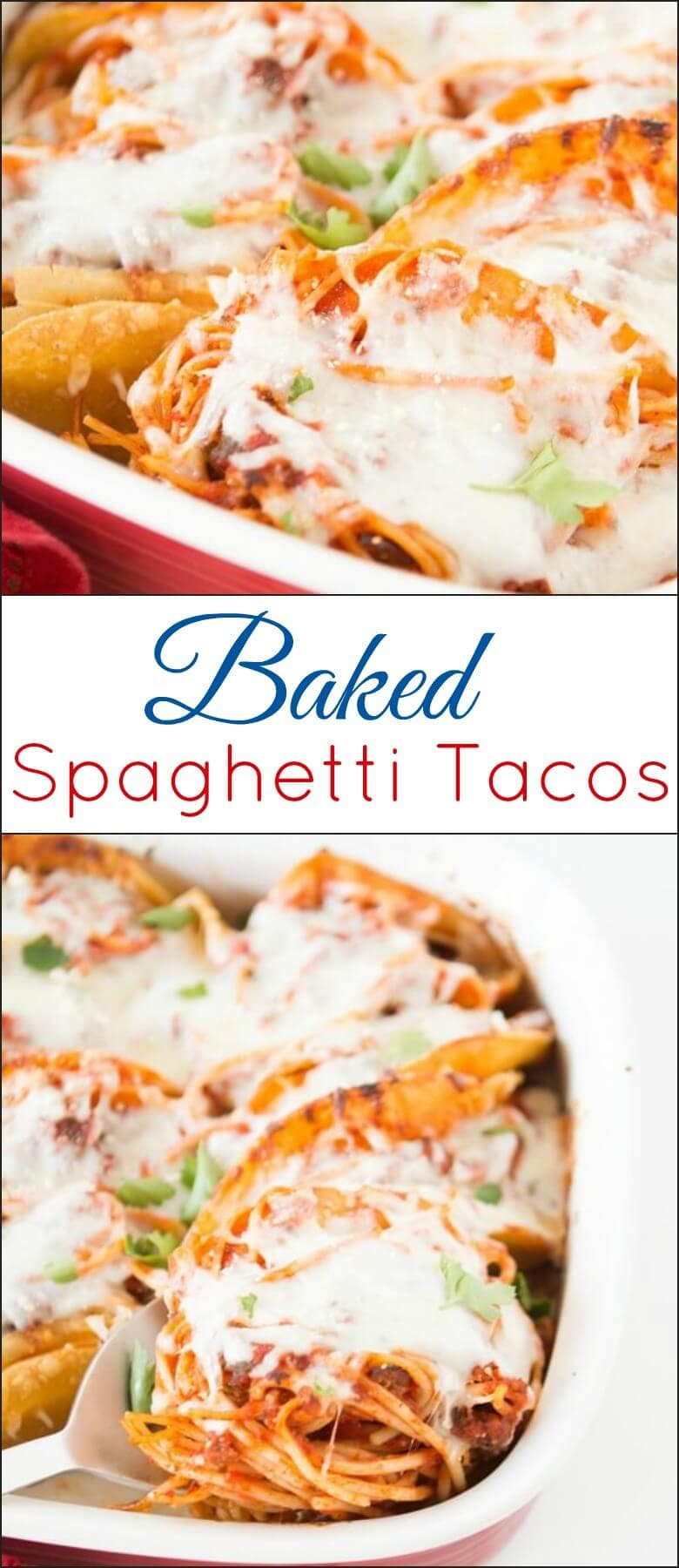 Baked Spaghetti Tacos ohsweetbasil.com iCarly party