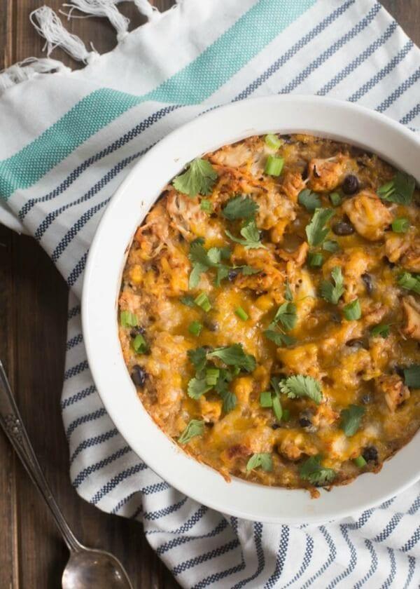 Quick and easy Cheesy BBQ Chicken Quinoa Casserole | boysahoy.com