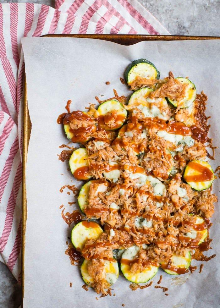 Cheesy BBQ Chicken Zucchini Nachos