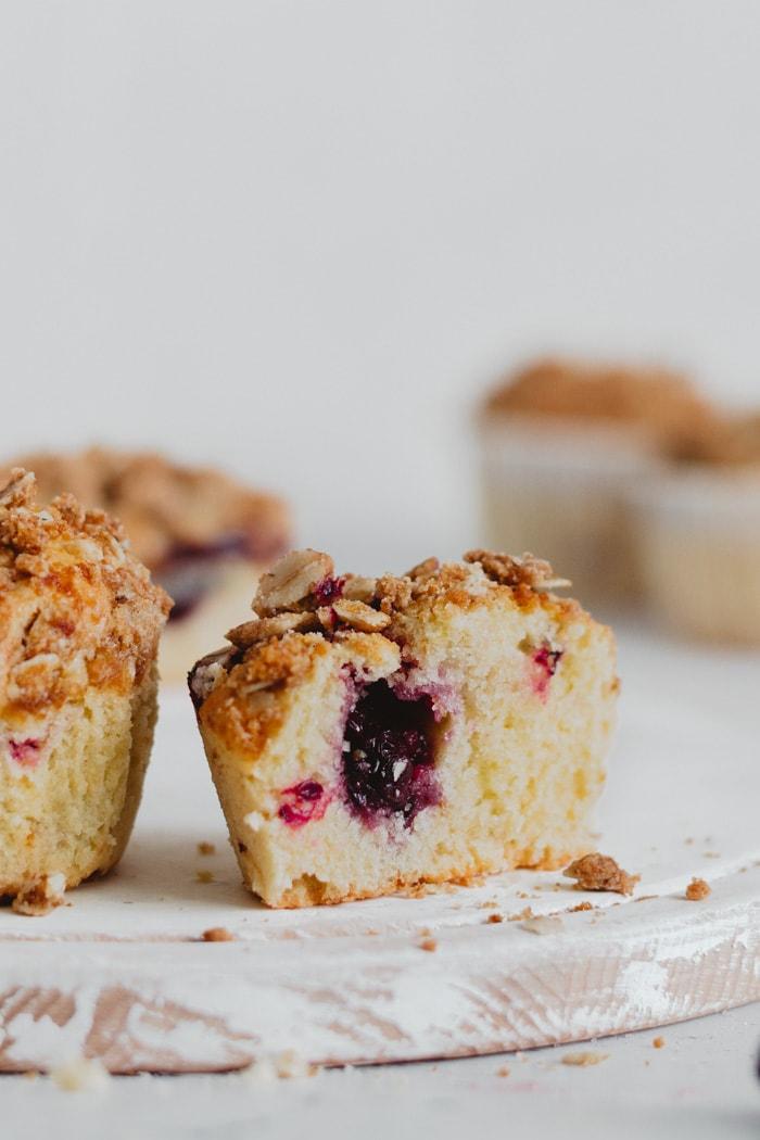 two blackberry pie muffins