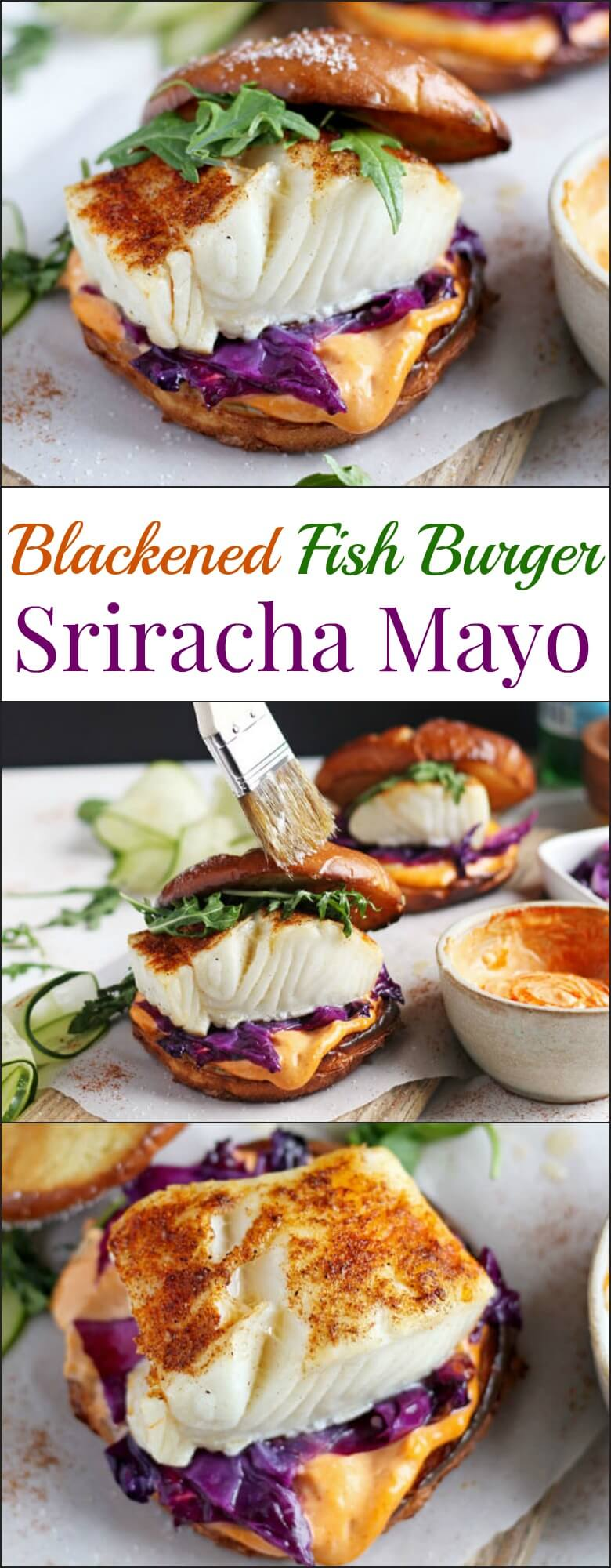 This blackened fish burger + sriracha mayo is a quick and easy weeknight meal that is healthy and bursting with flavor! Ready and on your table in 30 minutes!