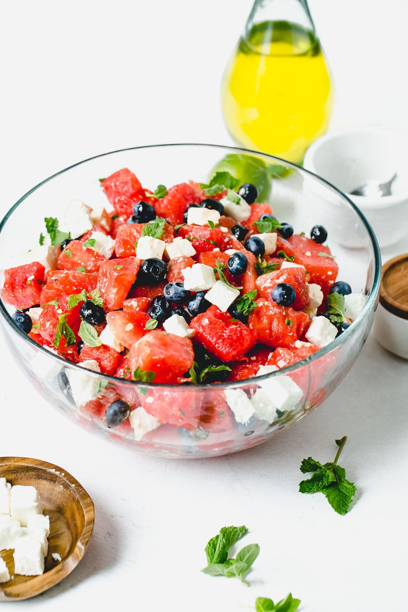 Watermelon and Blueberry Feta Salad