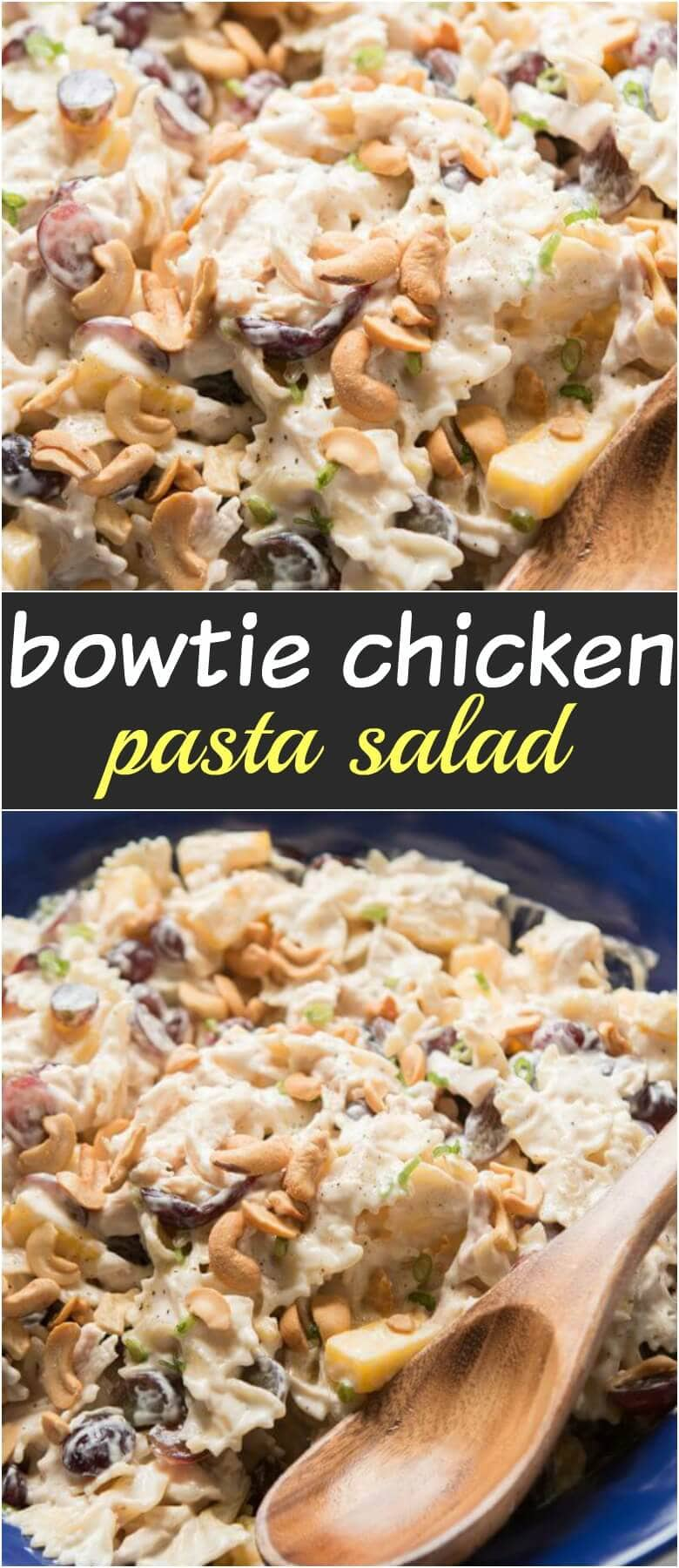 Bowtie chicken pasta salad is perfect for a BBQ. Creamy dressing, juicy pineapple and grapes, crunchy cashews and lots of chicken! ohsweetbasil.com