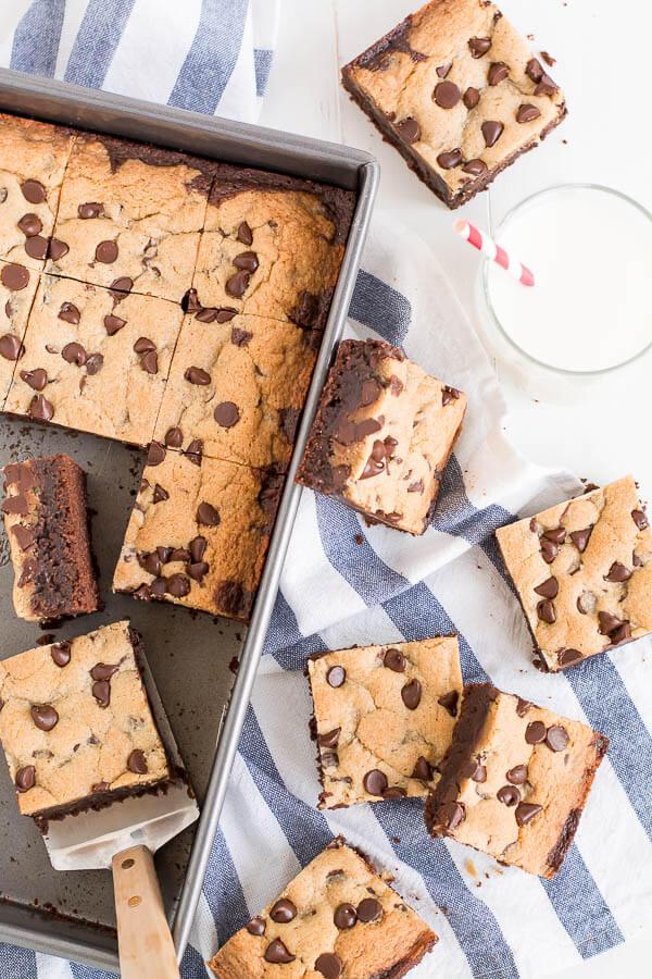 pan of brookies with glass of milk