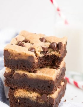 Enjoy a fudgy brownie and chewy chocolate chip cookie with each bite of these scrumptious Brookie Bars!