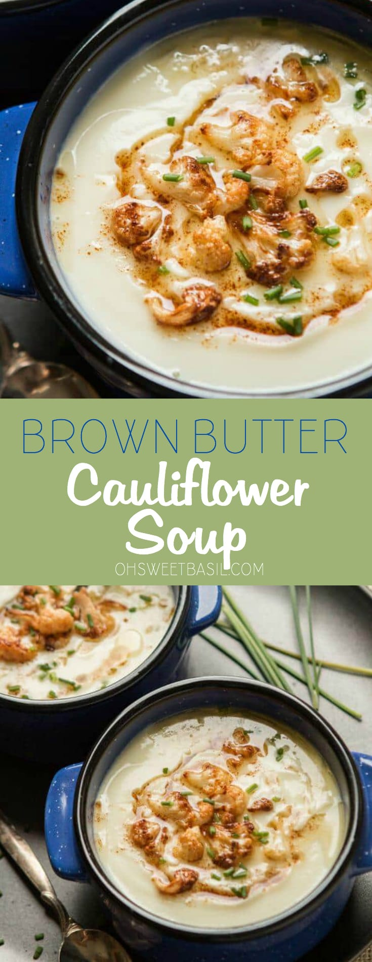 A blue bowl with brown butter cauliflower soup