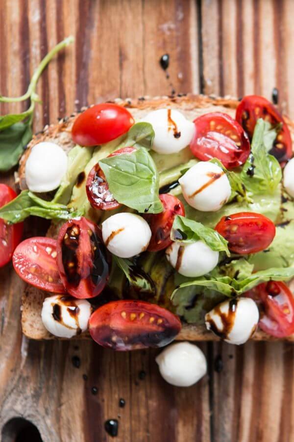 Caprese Avocado Toast ohsweetbasil.com