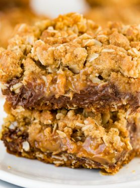 A delicious combination of brown sugar buttery oat bottom, a melty chocolate and rich caramel center topped off with another layer of oat crumble!