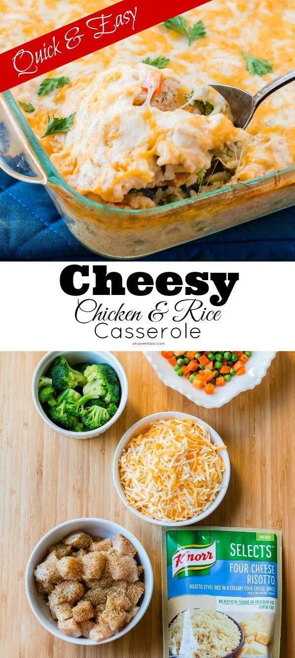 I'm always looking for a quick and easy dinner idea and this cheesy four cheese chicken and rice casserole seems to always end up in our weekly meal planning. This recipe is full of rice, chicken and veggies and topped off with gooey cheese. ohsweetbasil.com