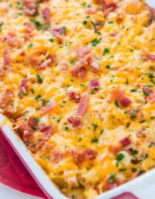 This quick and easy dinner idea is great for all year round. Cheesy chicken bacon ranch casserole is full of pasta and even kids love it! ohsweetbasil.com