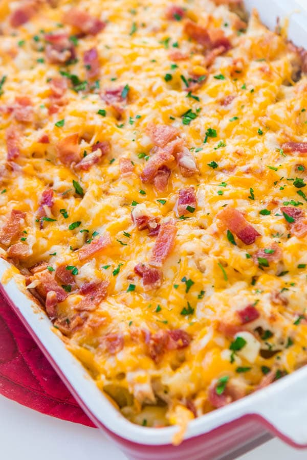 Cheesy Chicken Bacon Ranch Casserole Video Oh Sweet Basil