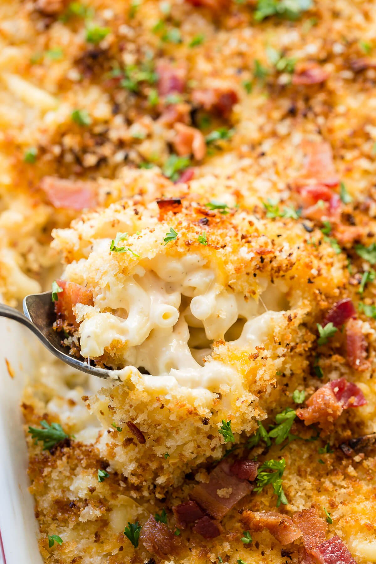 This is a quick and easy dinner idea with rotisserie chicken, cheesy chicken bacon ranch macaroni and cheese for family dinner! ohsweetbasil.com