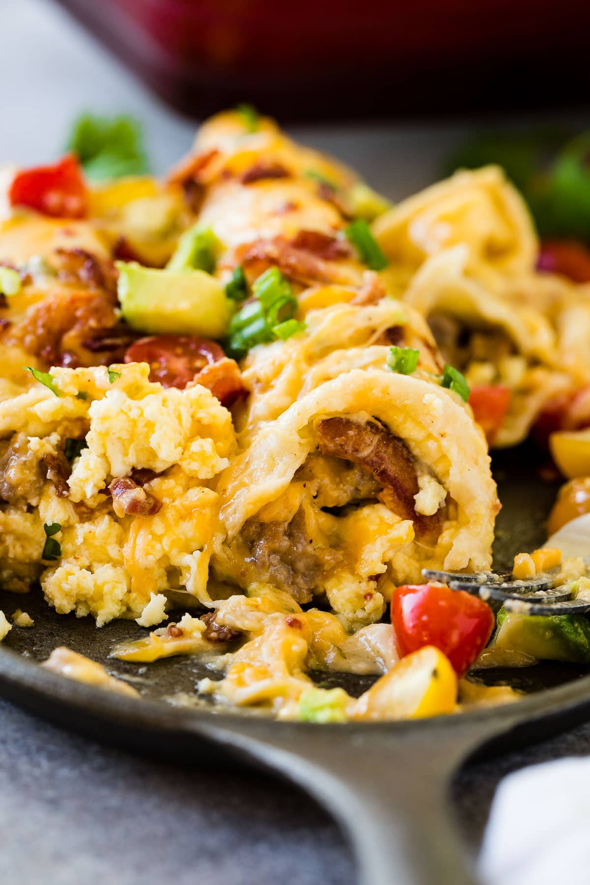 Mexican style breakfast casserole is just what you need for the holidays. Cheesy salsa verde sausage breakfast casserole ohsweetbasil.com