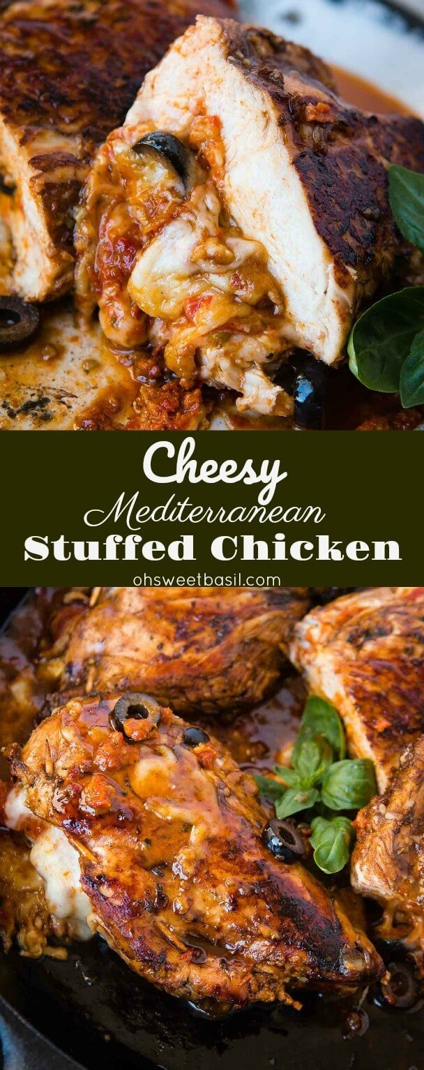 This is AMAZING!!! Cheesy stuffed mediterranean chicken with a crazy good balsamic glaze! ohsweetbasil.com