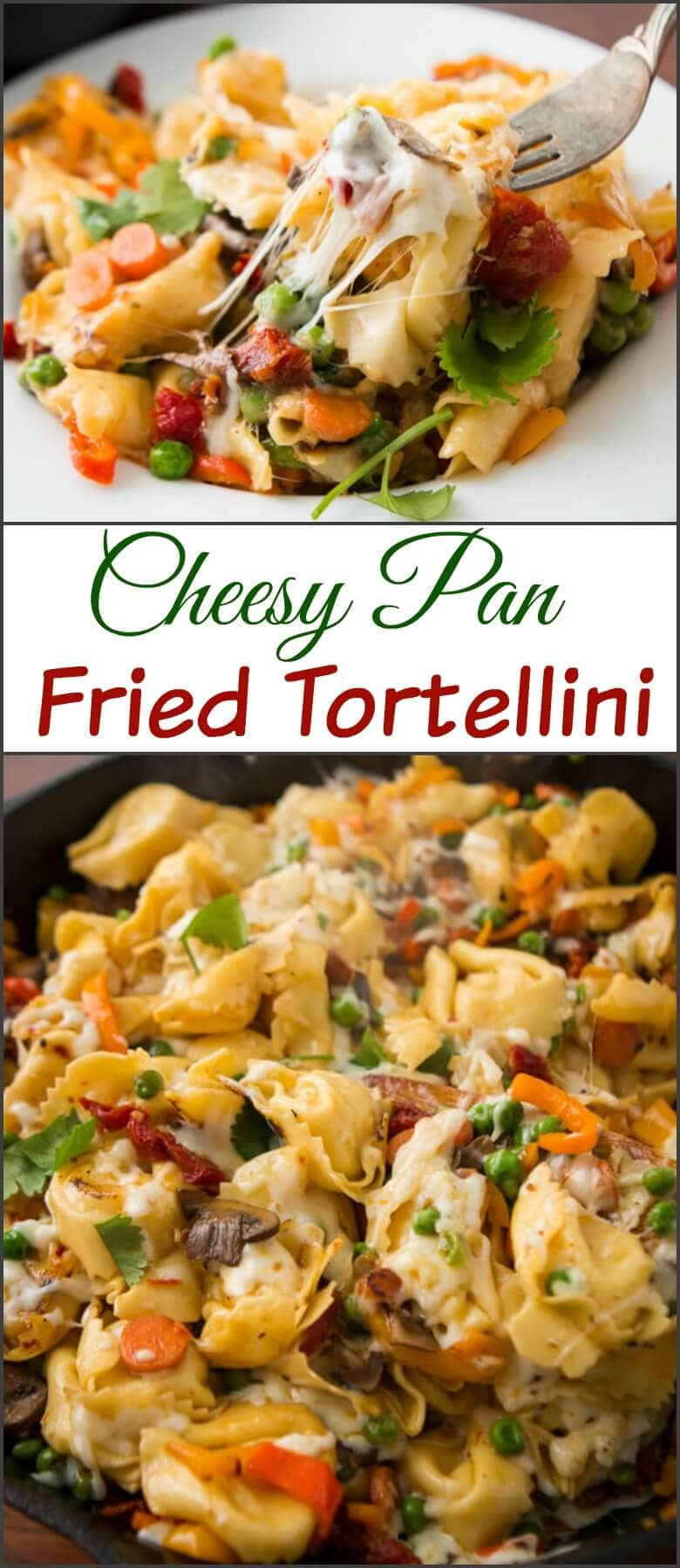 This is one of our favorite dinners, cheesy pan fried tortellini. My husband made up the recipe and it looks almost too simple, but it's delicious!