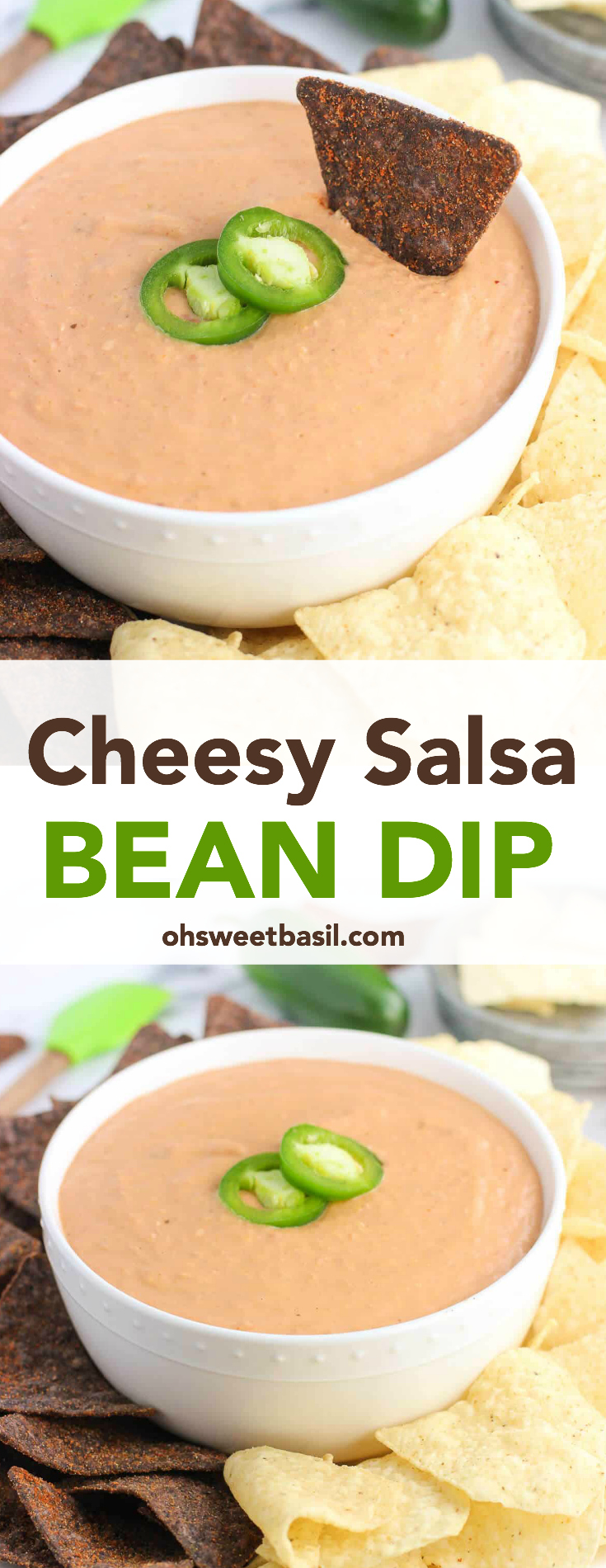 A bowl of delicious cheesy salsa bean dip with chips