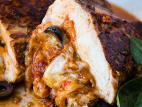 Looking for a quick and easy healthy dinner recipe? We've been loving this Cheesy Stuffed Mediterranean Chicken. It's full of sun dried tomatoes, olives and cheese! ohsweetbasil.com