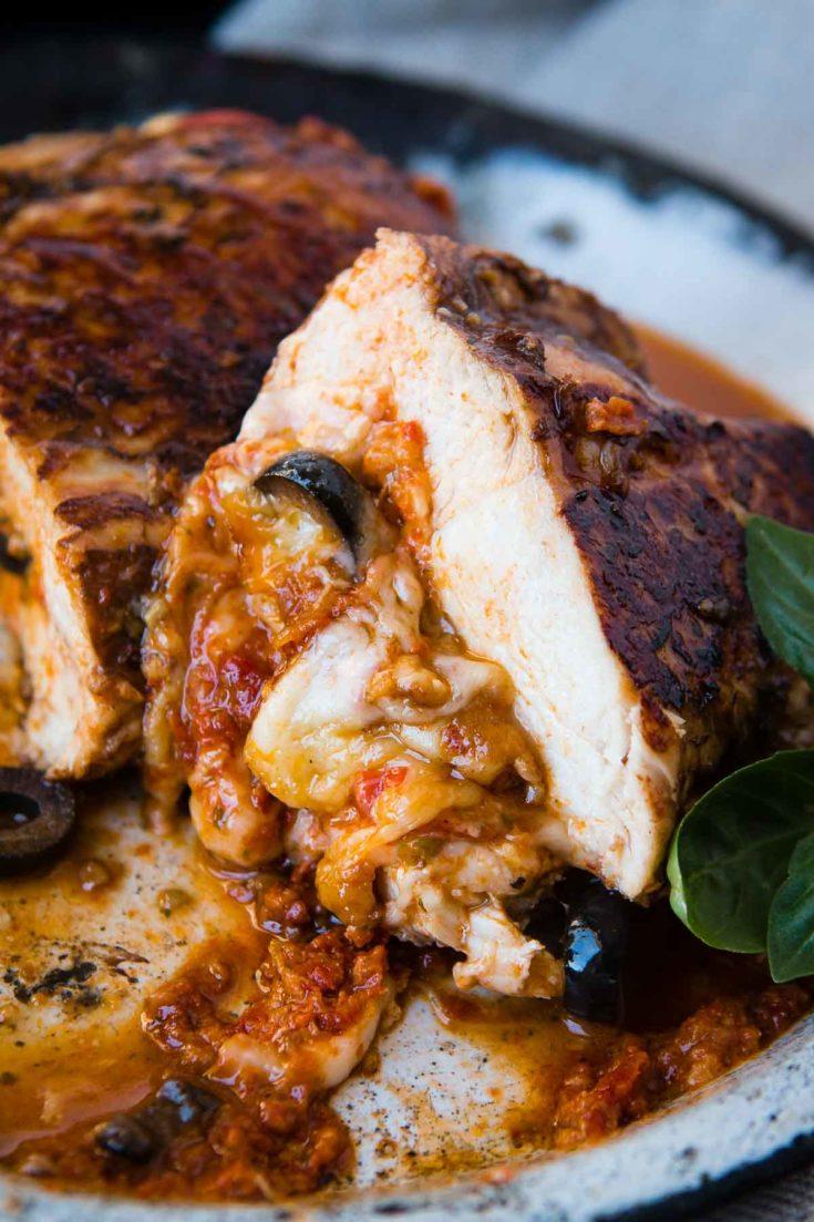Cheesy Stuffed Mediterranean Chicken