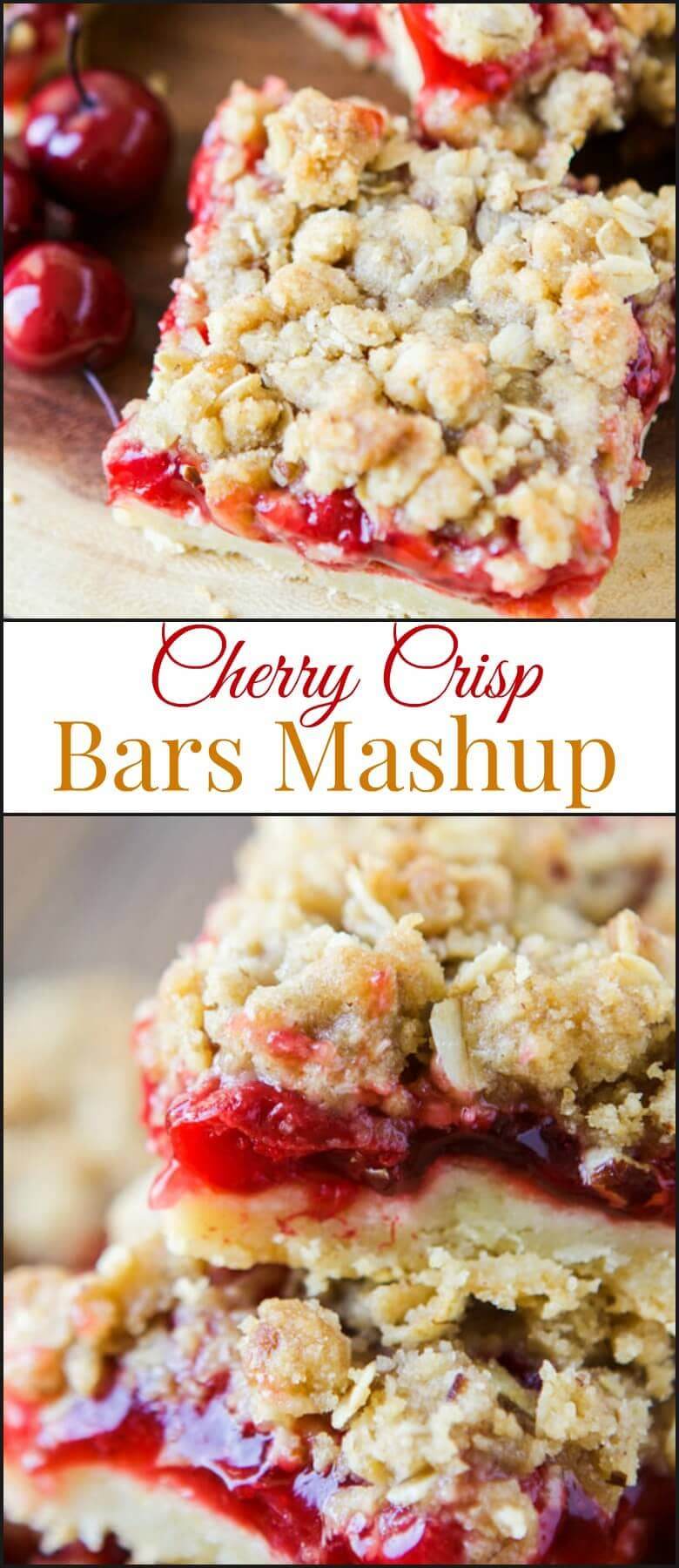 We love pie and crisps so when summer hit and everyone was posting their favorite backyard bbq desserts we had to do a cherry crisp bars mashup recipe. ohsweetbasil.com