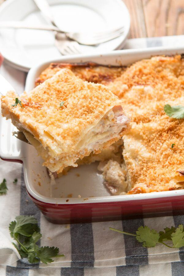 There's nothing like lasagna for comfort food but this chicken cordon bleu lasagna is even more creamy, gooey and totally awesome. ohsweetbasil.com