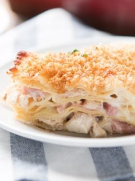 There's nothing like lasagna for comfort food but this chicken cordon bleu lasagna is even more creamy, gooey and totally awesome.