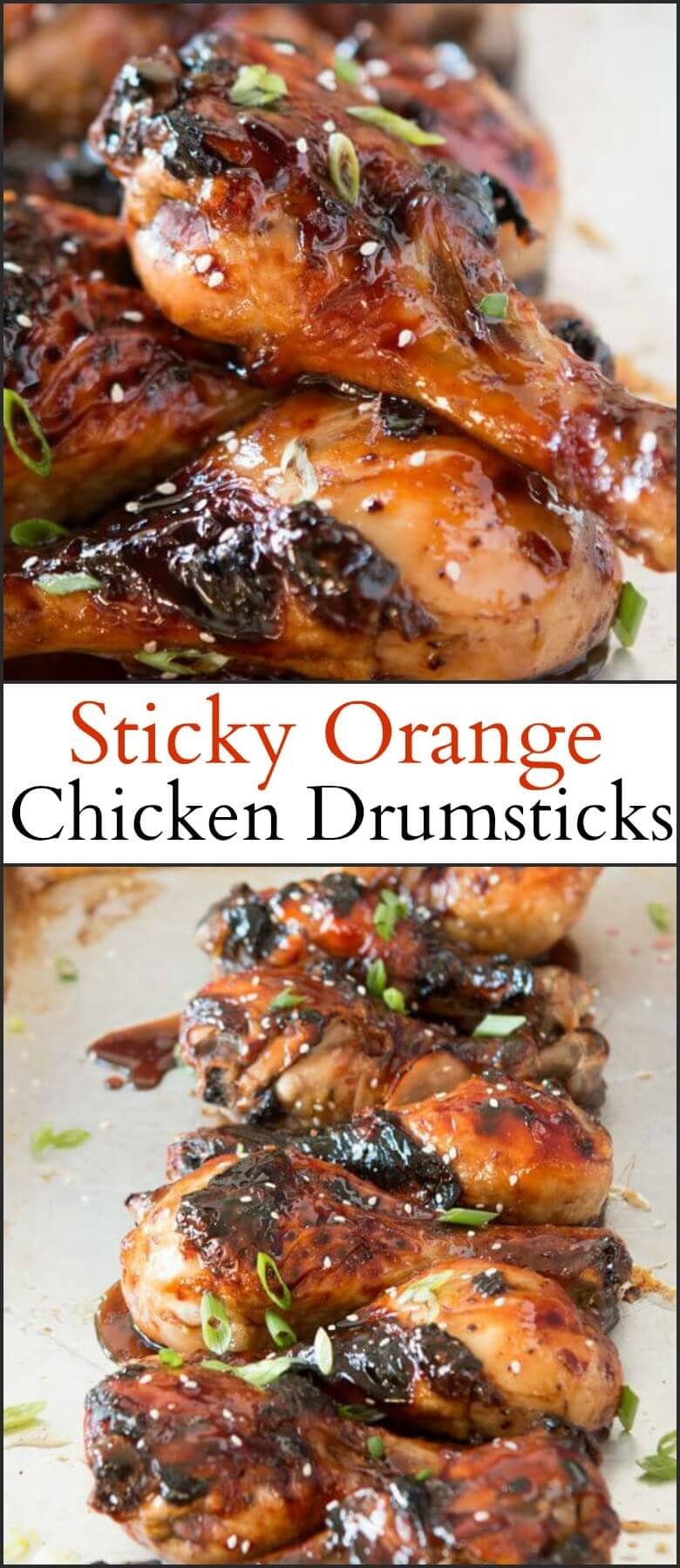 I'm begging you all to pin the heck out of this one because not only are the sticky orange chicken drumsticks going to be your new favorite but you can actually use any cut of chicken you want. ohsweetbasil.com
