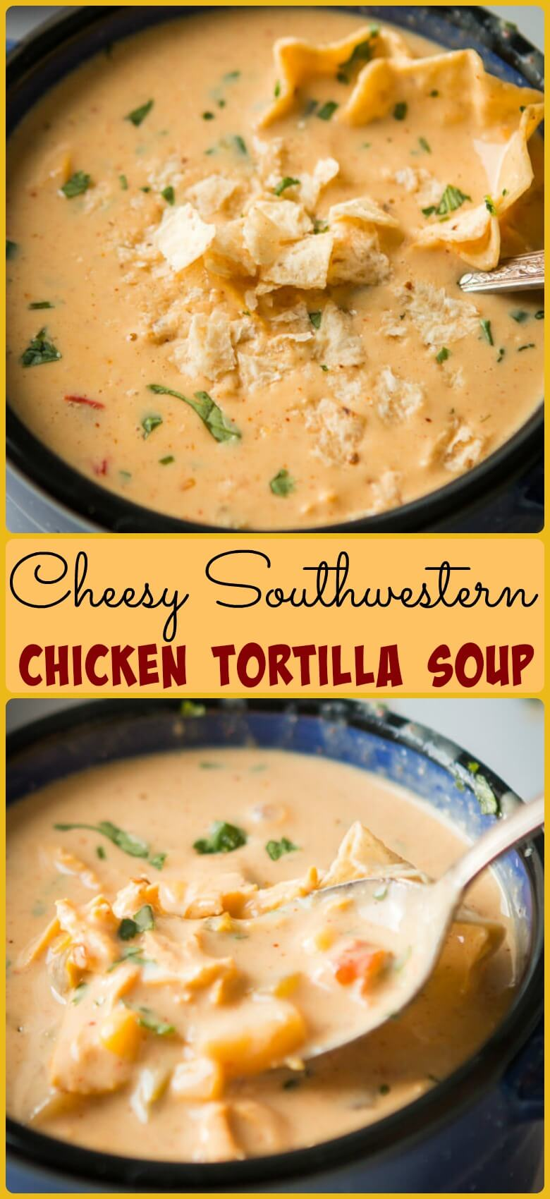 We never say, Cheesy Southwestern Chicken Tortilla Soup. It's too long, so we say, The Soup. It needs nothing else as it is The soup recipe of your dreams. ohsweetbasil.com