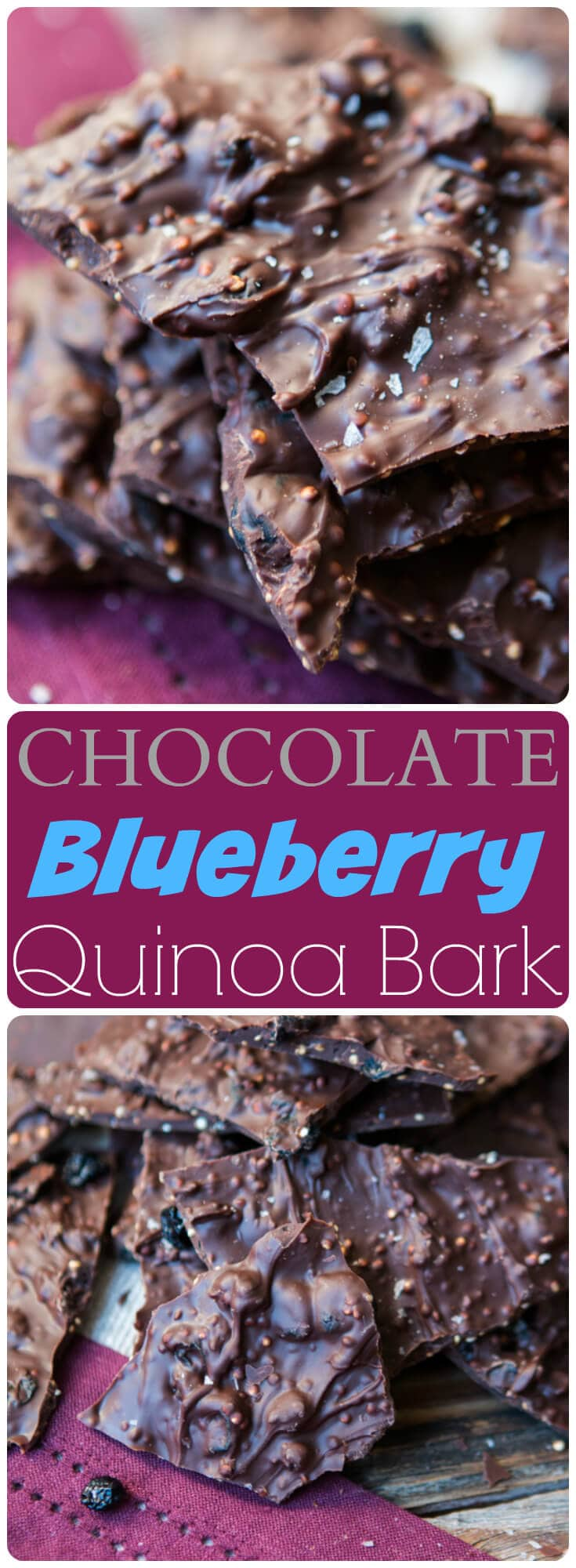 Have you been dying over all of those dark chocolate snacks popping up in stores everywhere? Our new obsession this year is our chocolate blueberry quinoa bark. ohsweetbasil.com