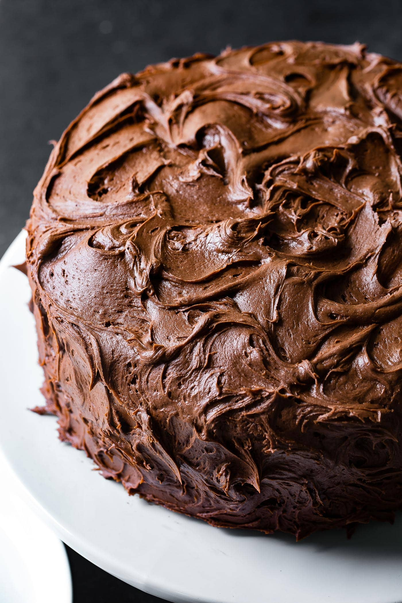 A chocolate layer cake with chocolate frosting.