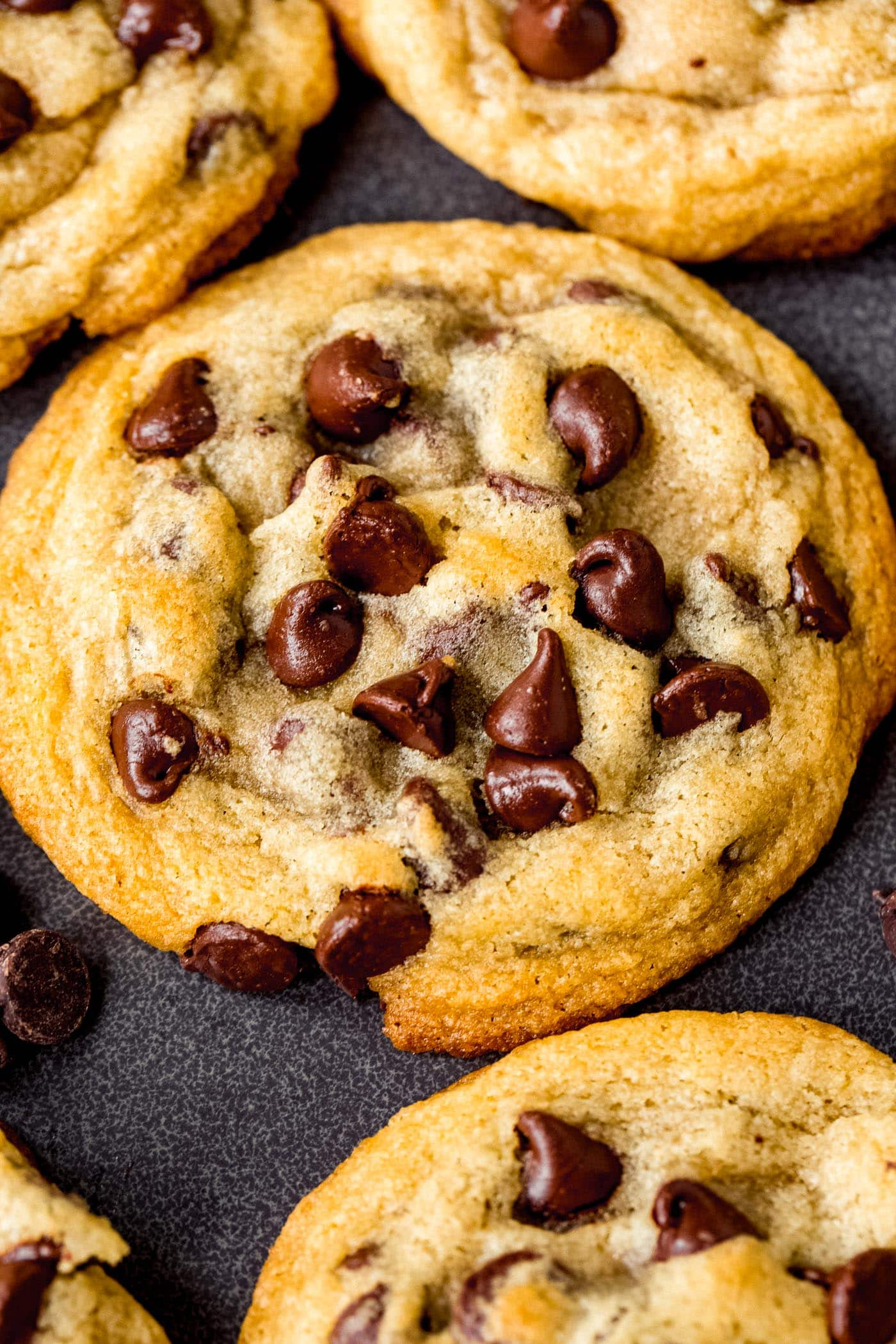 A close-up of a perfectly baked chocolate chip cookie on a cooling rack with other cookies. The cookie is packed with chocolate chips.