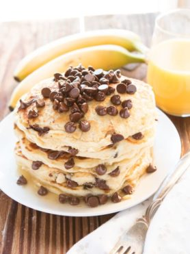 chocolate chip pancakes ohsweetbasil.com
