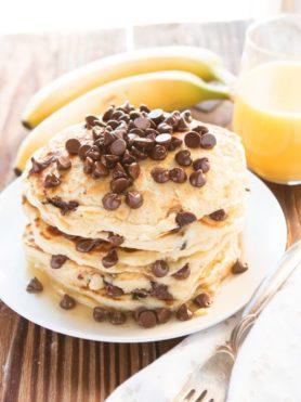chocolate chip pancakes ohsweetbasil.com