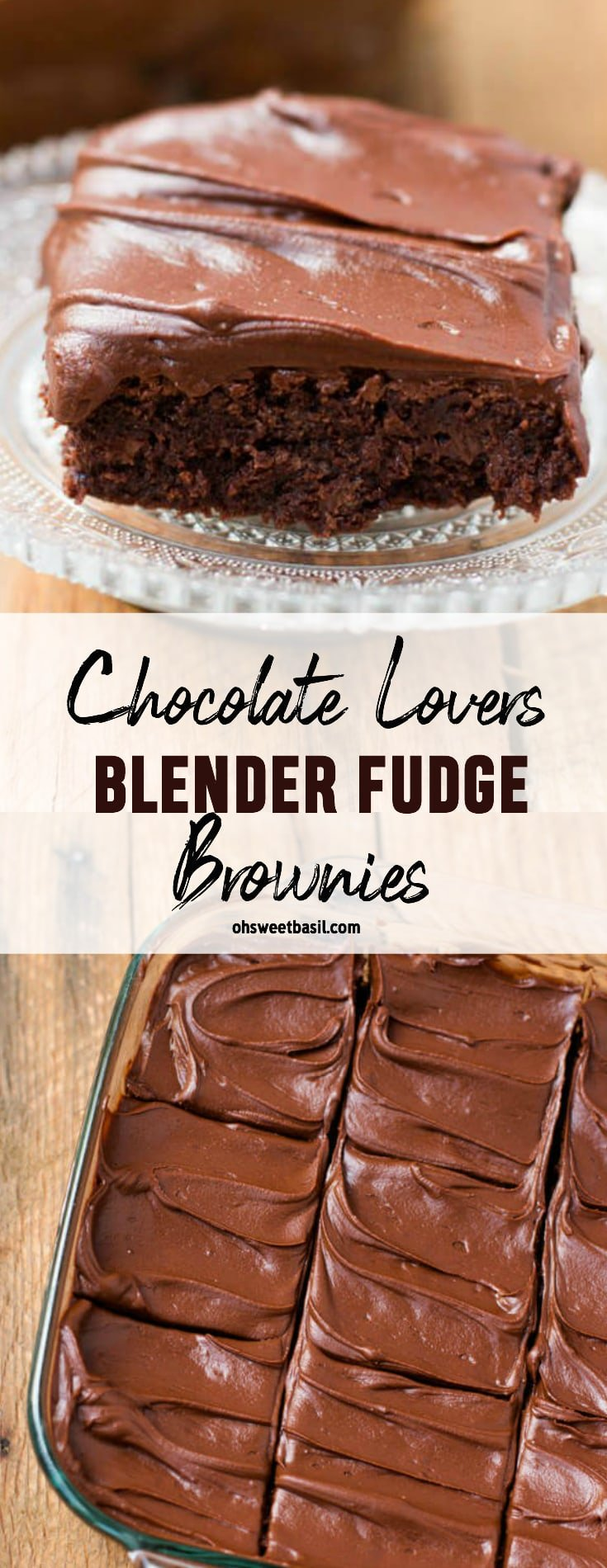 A pan of the best chocolate lovers fudge brownies that are made in a blender