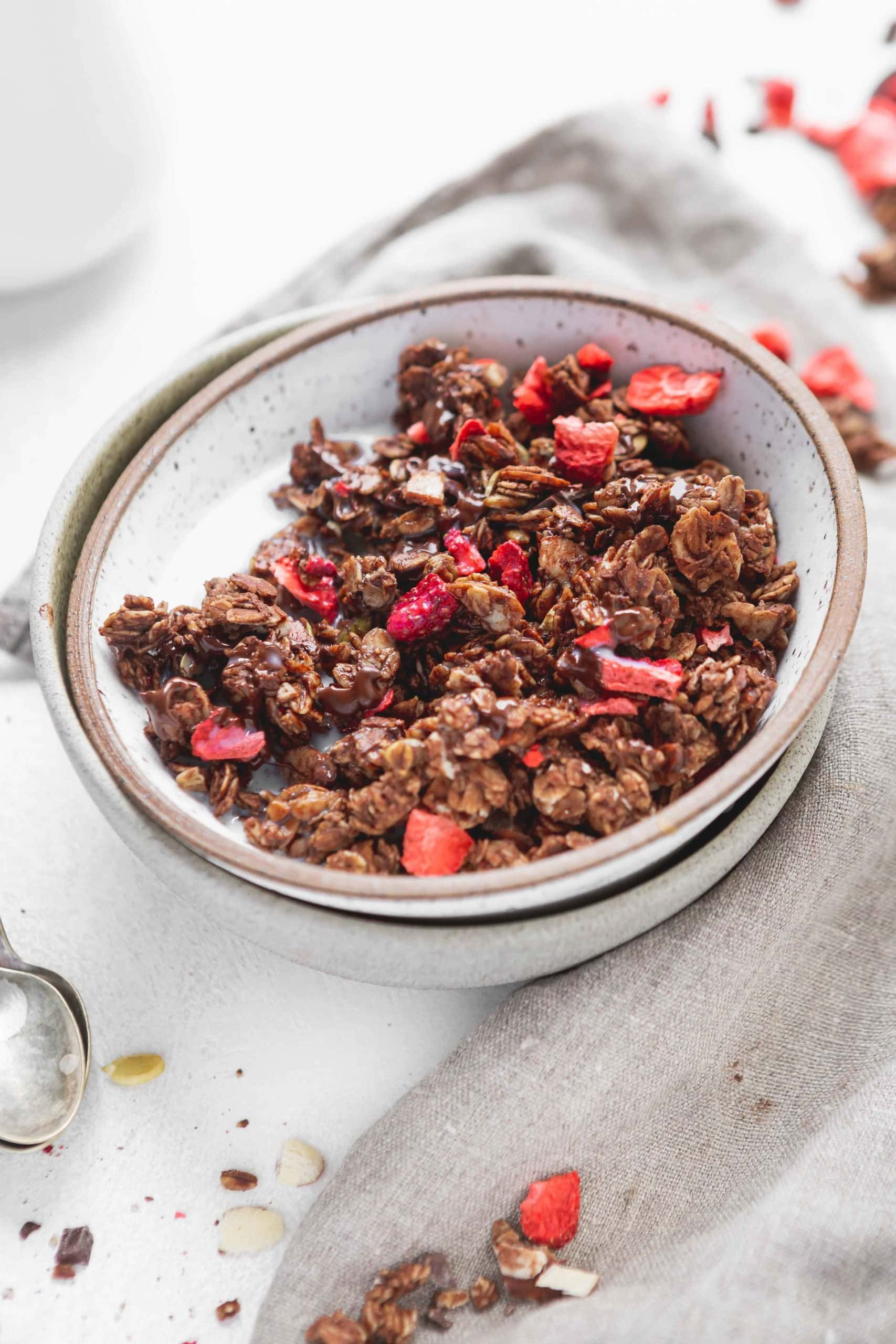 A bowl of chocolate lovers granola with chunks of chocolate and strawberries.