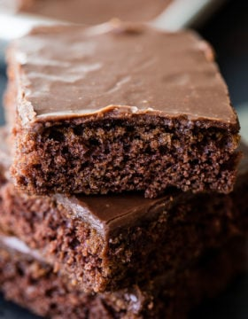 The classic chocolate sheet cake with a cooked chocolate frosting ohsweetbasil.com