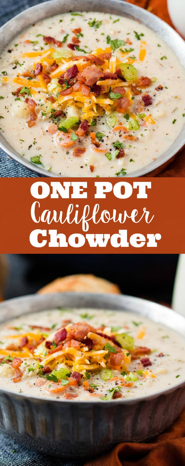 Move over, corn chowder and back it up, loaded baked potato soup, this one pot cauliflower chowder is the best fall soup this year!