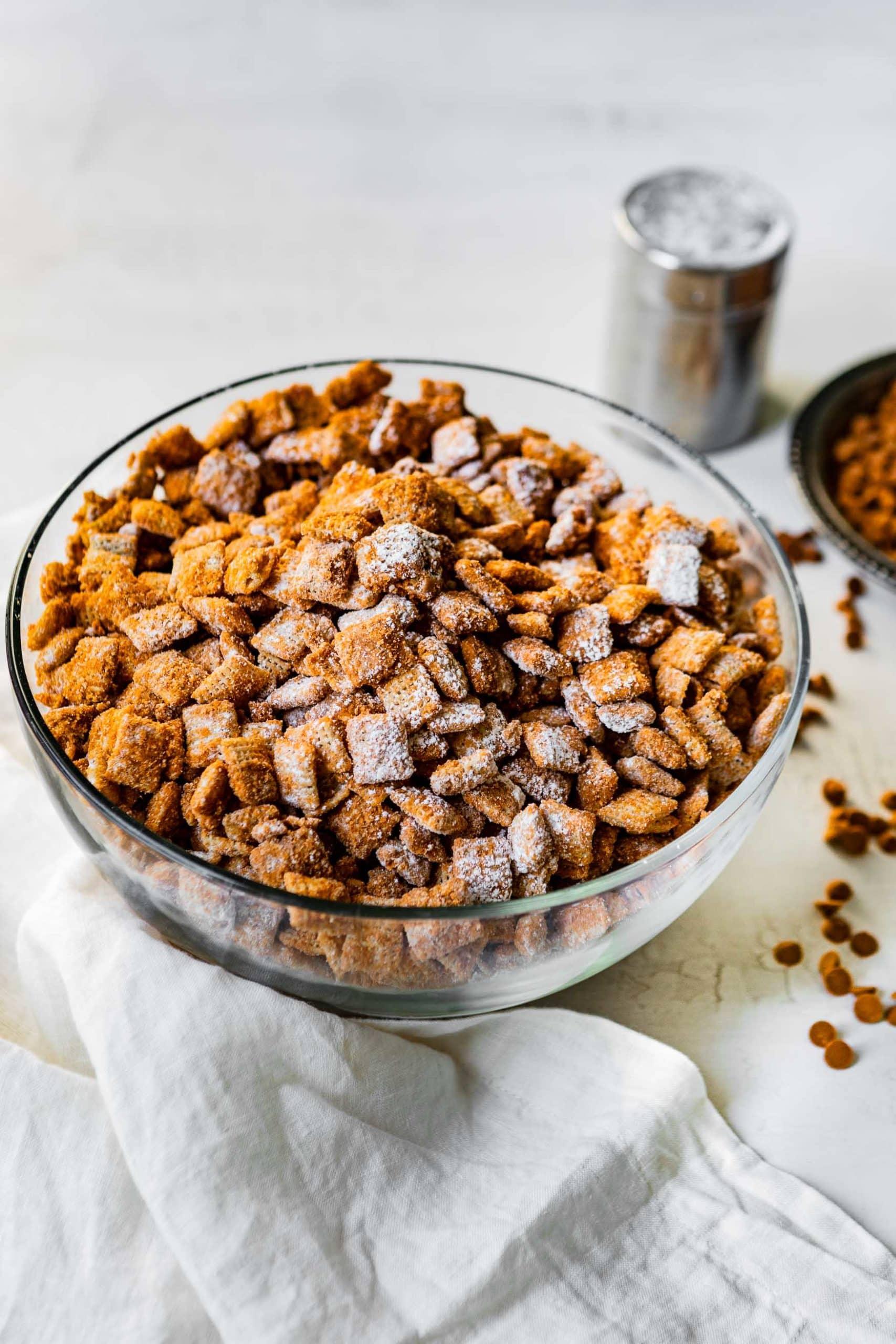 cinnamon chips and a cinnamon sugar powdered sugar chex mix