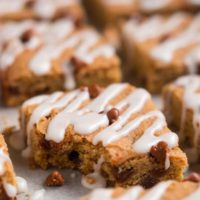 Enjoy fall with all its beautiful leaves, cool crisp air, and yummy treats like these chewy Cinnamon Pumpkin Cookie Bars.