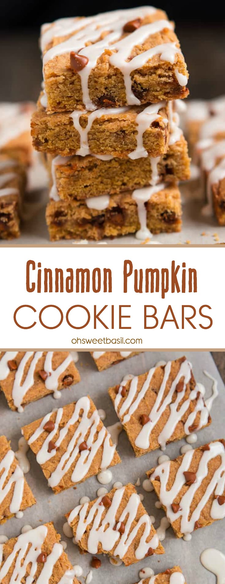 A stack of chewy Cinnamon Pumpkin Cookie Bars with a sweet icing
